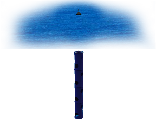 A surface velocity program (SVP) drifting buoy at sea