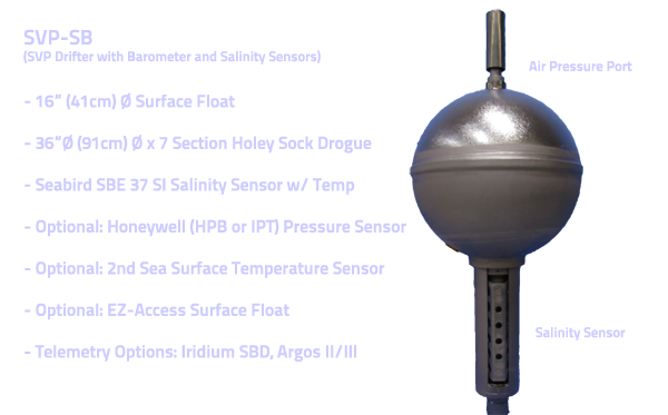 "SVP-SB (SVP Drifter with Salinity and Barometer Sensors) 16"" (41cm) Ø Surface Float- 36""Ø (91cm) Ø x 7 Section Holey Sock Drogue Seabird SBE 37 SI Salinity Sensor w/ Temp Optional: Honeywell (HPB or IPT) Pressure Sensor Optional: 2nd Sea Surface Temperature Sensor Optional: EZ-Access Surface Float Telemetry Options: Iridium SBD, Argos II/III"